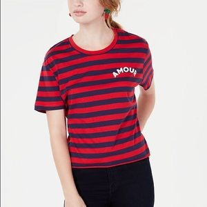 Rebellious One Amour Red Blue Striped T-Shirt